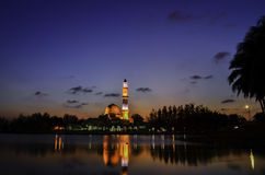 Silhouette image of iconic floating mosque in Terengganu, Malaysia. Stock Photo