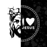 Silhouette image of Jesus Christ. Pastiche. stock illustration
