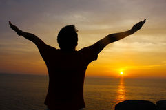 Silhouette Image of Man Raising His Hands Royalty Free Stock Photos