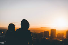 Silhouette Image of Man and Woman during Dusk Stock Photos