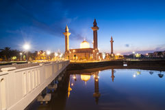 The silhouette image of sunset at mosque. Sunrise over the mosque. reflection of mosque Royalty Free Stock Images