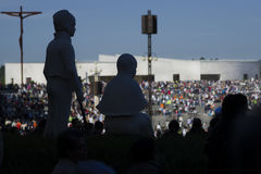 Silhouette of the images of the litle shepherds at the Sanctuary of Fatima during the celebrations of the apparition of the Virgin Royalty Free Stock Photos