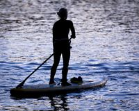Paddle Boarders. Silhouette images of Paddle Boarders on River Tyne, at Newburn, Newcastle upon Tyne, England, UK. At sunset stock images