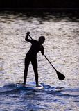 Paddle Boarders. Silhouette images of Paddle Boarders on River Tyne, at Newburn, Newcastle upon Tyne, England, UK. At sunset royalty free stock photos