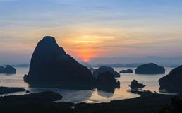 Silhouette of imestone karsts lanscape in sunrise Stock Photography