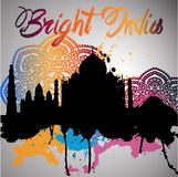 Silhouette of India with watercolor splash Royalty Free Stock Photos