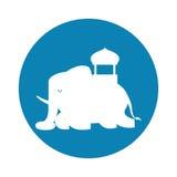 Silhouette indian elephant festival blue bakcground Royalty Free Stock Photography