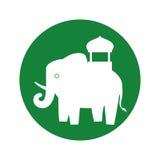 Silhouette indian elephant festival green bakcground Royalty Free Stock Image