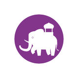 Silhouette indian elephant festival purple bakcground Stock Photo