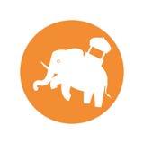 Silhouette indian elephant festival yellow bakcground Royalty Free Stock Photos