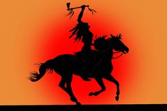 Silhouette of indian man sitting on a horse Royalty Free Stock Photos