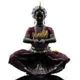 Silhouette indienne de danse de danseuse de femme Photographie stock
