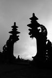 Silhouette of Indonesia Bali Temple Gate, Besakih. Silhouette of The Mother Temple of Besakih, Bali, Indonesia Royalty Free Stock Photo