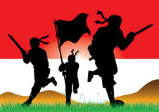 Silhouette of Indonesian Army Royalty Free Stock Image