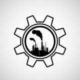 Silhouette of industrial factory. Royalty Free Stock Image