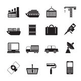 Silhouette Industry and Business icons. Vector icon set Stock Photo