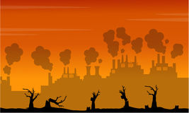Silhouette of industry and forest on fire landscape. Collection Royalty Free Stock Photography