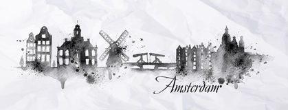 Silhouette ink Amsterdam. City painted with splashes of ink drops streaks landmarks drawing in black ink on crumpled paper Stock Photo