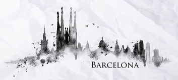 Silhouette ink Barcelona. Silhouette Barcelona city painted with splashes of ink drops streaks landmarks drawing in black ink on crumpled paper Royalty Free Stock Image