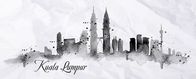 Silhouette ink Kuala Lumpur Royalty Free Stock Images