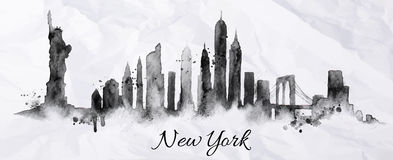 Silhouette Ink New York Royalty Free Stock Photo