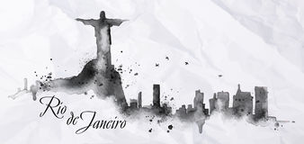 Silhouette ink Rio de Janeiro. Silhouette Rio de Janeiro city ink painted with spray droplets with streaks landmarks drawing in black ink on crumpled paper Royalty Free Stock Photography