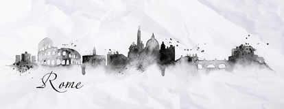 Silhouette ink Rome. Silhouette Rome city painted in ink with spray droplets with streaks landmarks drawing in black ink on crumpled paper Royalty Free Stock Images
