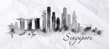 Silhouette ink Singapore. City painted with splashes of ink drops streaks landmarks drawing in black ink on crumpled paper Royalty Free Stock Photography