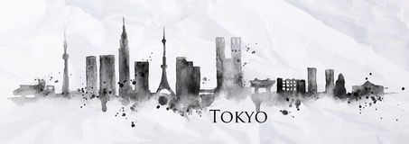 Silhouette ink Tokyo. Silhouette of Tokyo city painted with splashes of ink drops streaks landmarks drawing in black ink on crumpled paper Stock Images