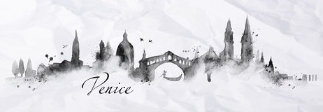 Silhouette Ink Venice Stock Image