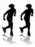 Silhouette inline skater. vector draw Royalty Free Stock Photography