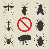 Silhouette insects set. Vector illustration. eps 8 Stock Images
