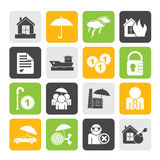 Silhouette Insurance and risk icons Stock Images