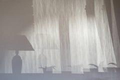 Silhouette intérieure d'ombre sur la texture grise concrète d'usine et de lampe de mur Image libre de droits