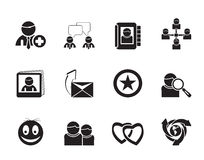 Silhouette Internet Community and Social Network Icons Royalty Free Stock Photos