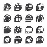 Silhouette Internet, Computer and mobile phone icons Stock Photography