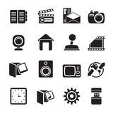 Silhouette Internet, Computer and mobile phone icons Stock Photo