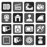 Silhouette Internet, Computer and mobile phone icons. Vector icon set Royalty Free Stock Images