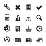 Silhouette Internet and Web Site Icons Stock Images
