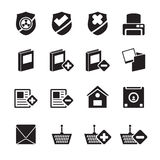 Silhouette Internet and Website buttons and icons Royalty Free Stock Photography