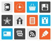 Silhouette Internet and Website Icons stock illustration