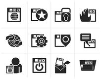 Silhouette Internet, website and Security Icons stock illustration