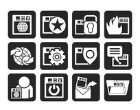 Silhouette Internet, website and  Security Icons Royalty Free Stock Photos