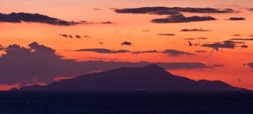 Silhouette of the island of Capri Royalty Free Stock Photos