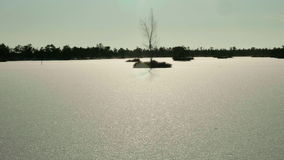 Silhouette of the island. Clean and frosty daytime. Smooth dolly shot. Silhouette of the island in the frozen lake in the national wildlife reserve. Clean and stock footage
