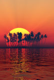 Silhouette of island sunset Stock Image