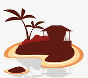 Silhouette island tropical hut exotic Royalty Free Stock Photos