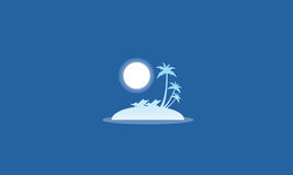 Silhouette of islands with moon scenery Royalty Free Stock Photo