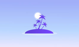 Silhouette of islands with palm Stock Photo