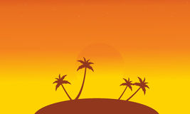 Silhouette of islands at sunset scenery Stock Photos